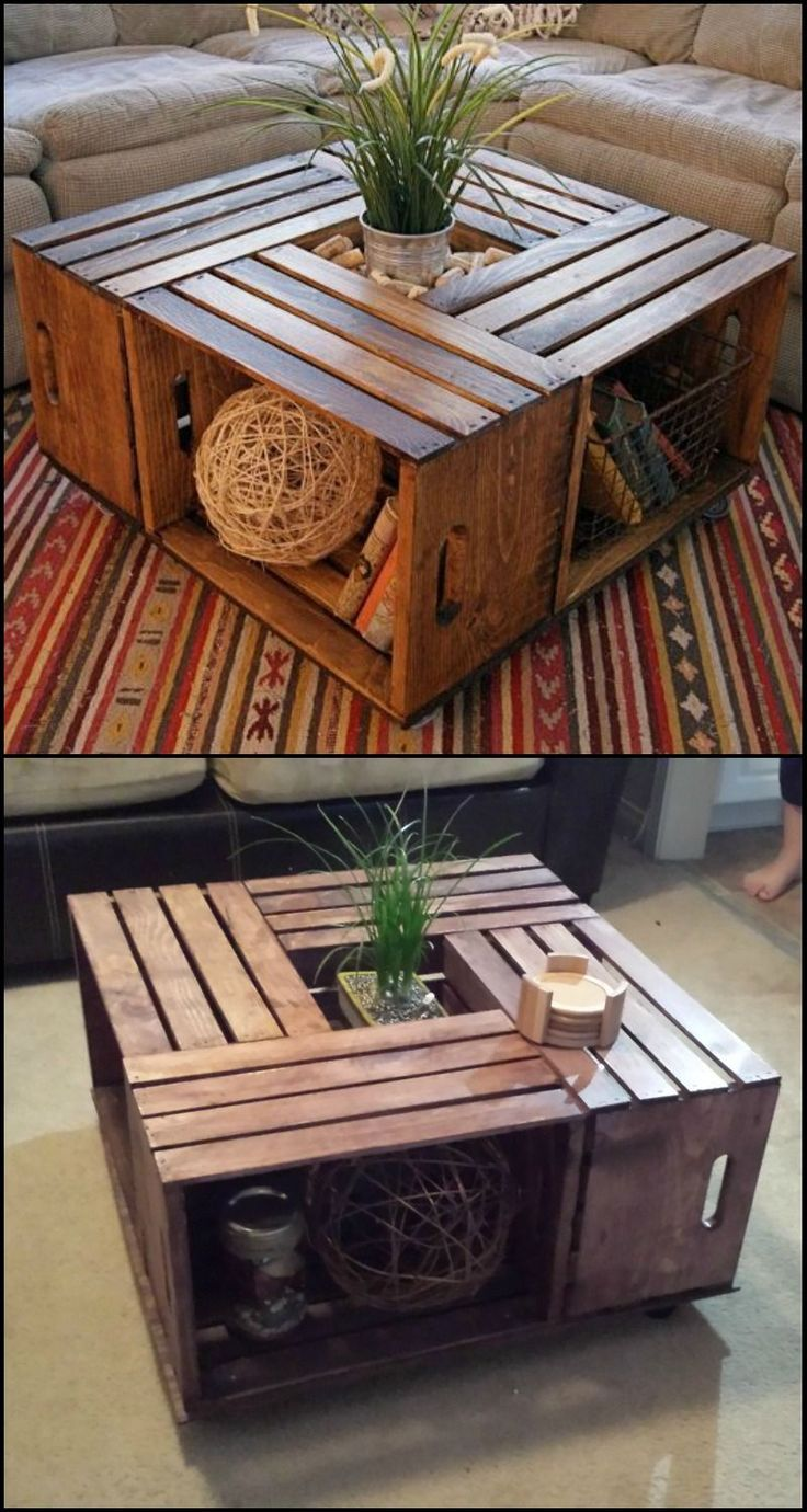 How to build a crate coffee table - #Build #coffee #Crate #table