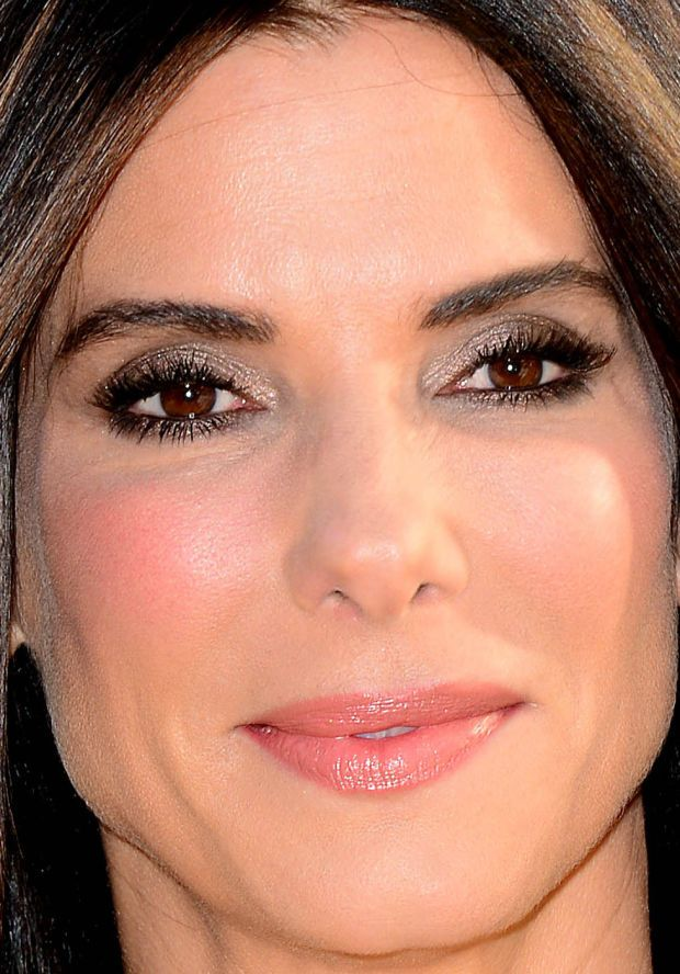 Close-up of Sandra Bullock at the 2015 London premiere of 'Minions'. beautyedito...