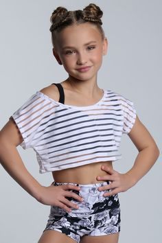Stripe Tee and Black Rose High Waisted Short #sylviap #sylviapgymnastics #gymnas...