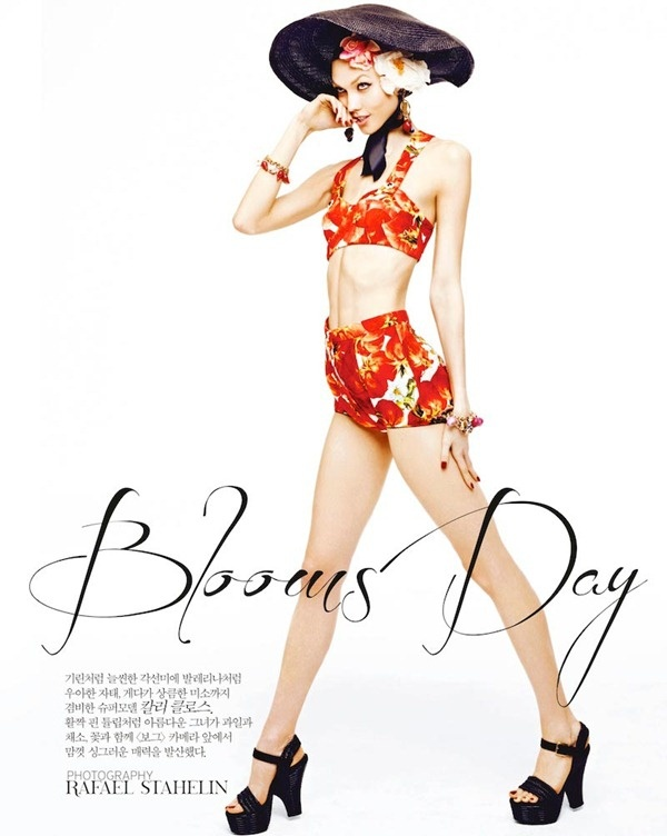 Bloom's Day – Karlie Kloss shows off her trademark moves for the March cover...