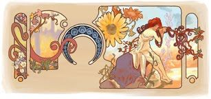 Google Doodle in honor of Alphonse Mucha's 150th birthday (July 24th).