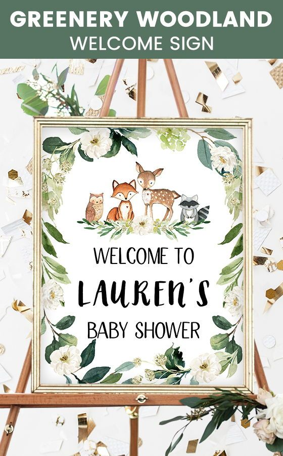 Greenery Woodland Baby Shower Welcome Sign, Greenery Woodland Animals Theme