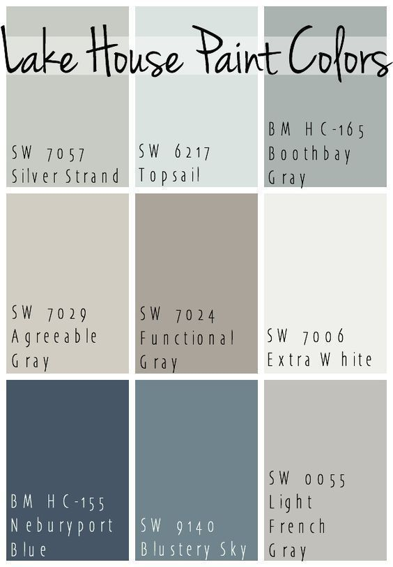 The Best Lake House Paint Colors - calming blue and gray tones that all coordina...