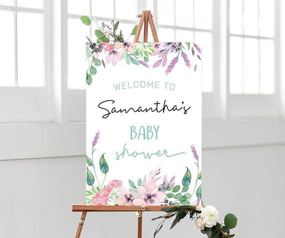 Floral Baby shower sign PRINTABLE Baby shower welcome sign #babyshower #newbaby ...