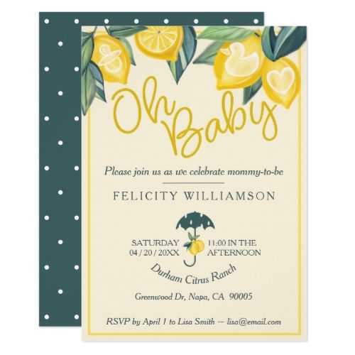 Yellow Lemon fruit Tree Baby Shower Invitation
