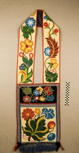 Spot-stitched beaded bandolier bag. Ojibwe. Source: Logan Museum of Anthropology...