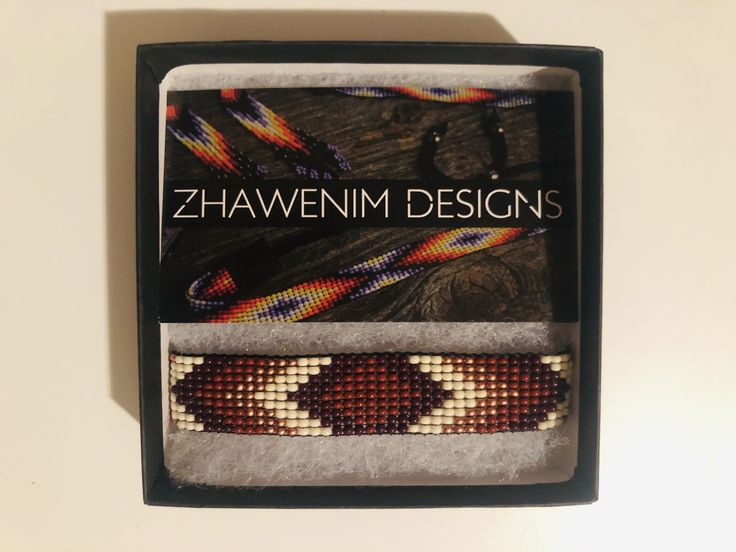 Loom-beaded bracelet by Ashley-Rose Machendagoos.  Check out more of her work @ ...