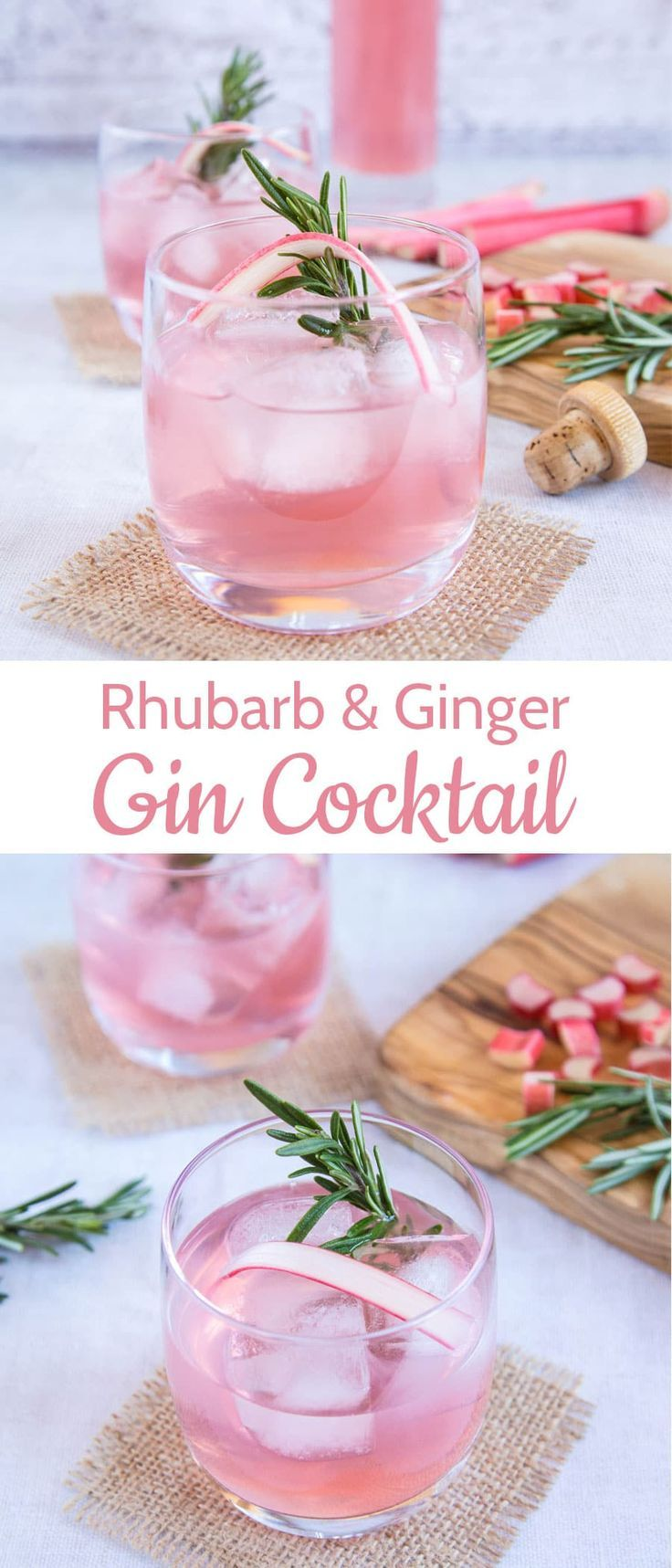 Two beautiful photos of a pretty pink rhubarb and ginger gin cocktail made with ...