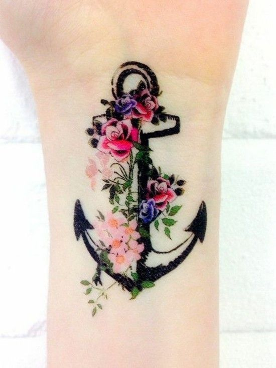anchor with flower tattoo wrist