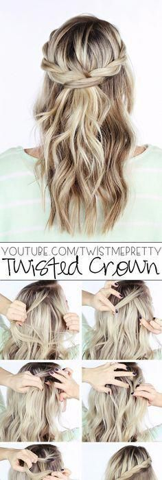 "DIY Wedding Hairstyle - Twisted Crown Braid Half Down Bottom Hairstyle # ""... ..."