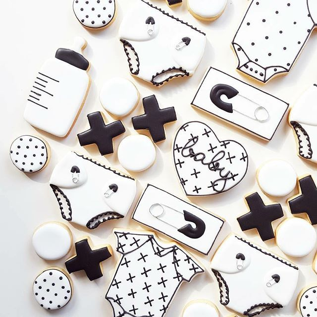 Monochrome baby shower cookies  by #llcpartner @frostedbynicci  Anyone else love...