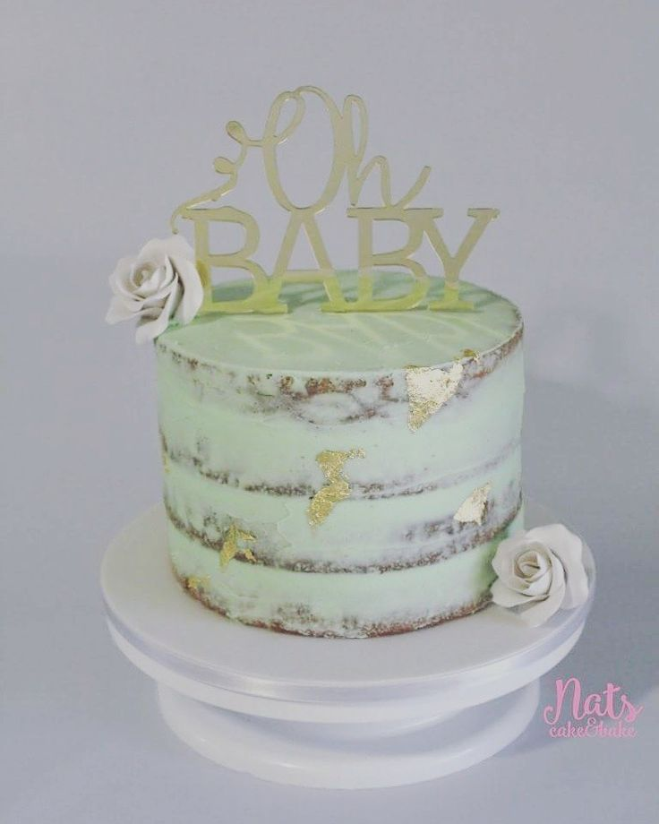 Mint green Baby Shower Cake