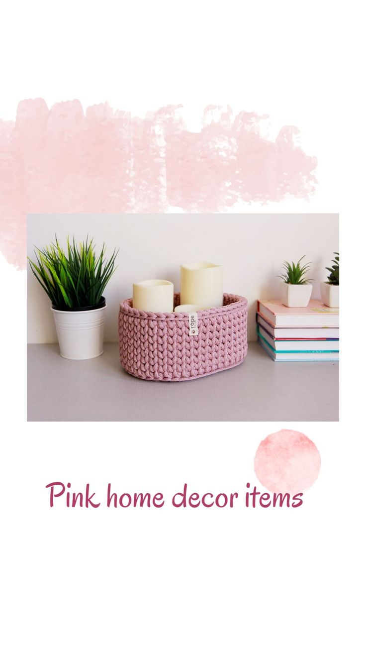 Pink storage box for nursery room, rose baby room decor, unique crochet organizer for baby shower