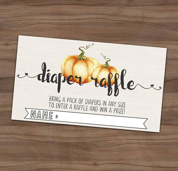Fall Diaper Raffle Baby Shower Card Autumn Diaper Shower
