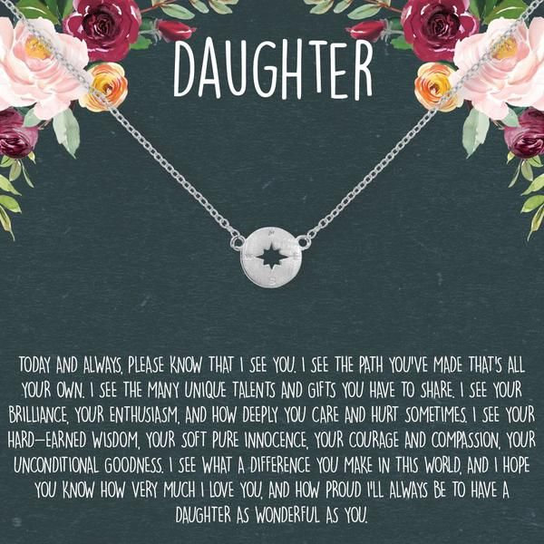 Daughter Necklace: Gift for Daughter, Daughter Jewelry, Mother Daughter, Compass...