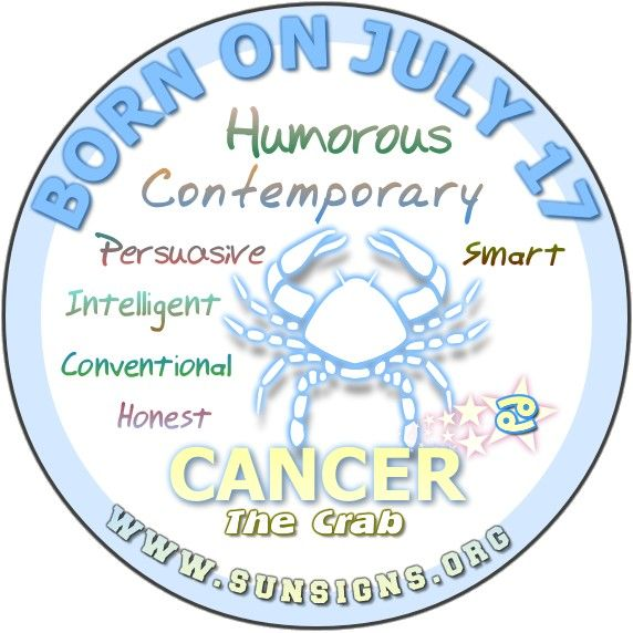 IF YOUR BIRTHDAY IS JULY 17, the Cancer Birthday Analysis reports that you are a...