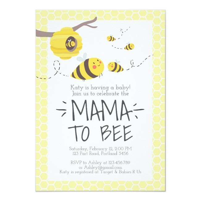 bee baby shower invitation honey comb Bumble bee invitation#honey#comb#shower