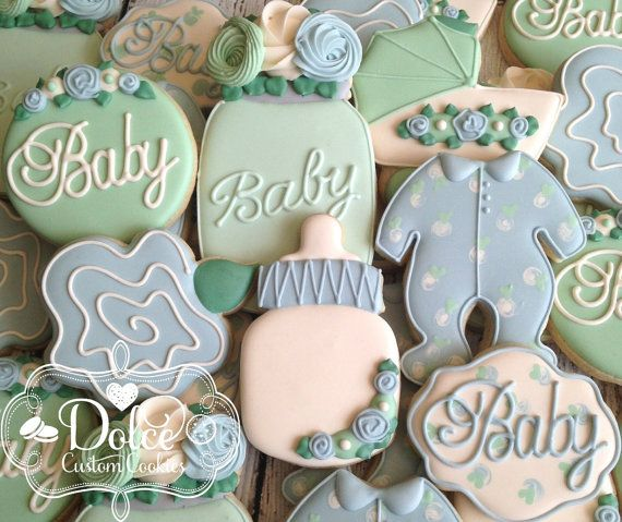 Garden Party Floral Shabby Chic Baby Shower by DolceCustomCookies