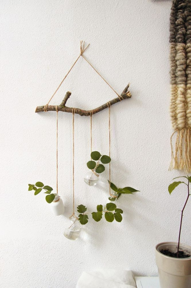Rustic suspended floors Decorative wall shelf for flowers Plant wall decor