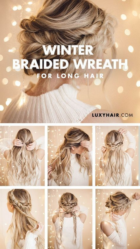 Braided Halo Hairstyle: Simple updo for long hair #easy #f ...