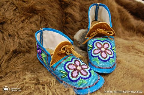 Moccasins - Fully Beaded Moosehide size 8