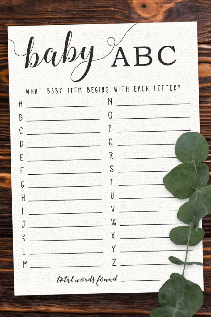 Baby Shower ABCs. Play this fun and unique baby shower game with your friends an...