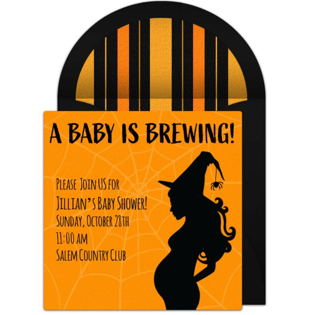 "Want to host a Halloween-themed baby shower? We love this free ""Baby is Brewing""..."