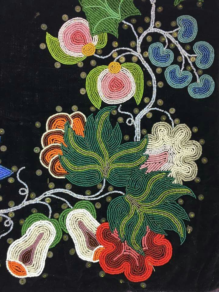 Detail of bead and sequin on leggings, 1920, Leech Lake Ojibwe maker. #beadwork ...