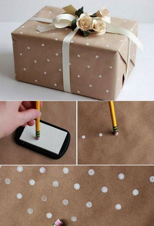 Make your own wrapping paper with white dots and pack your gifts beautifully ...