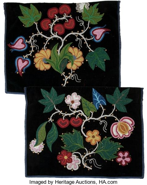 American Indian Art:Beadwork and Quillwork, TWO CHIPPEWA BEADED CLOTH APRONS. c....