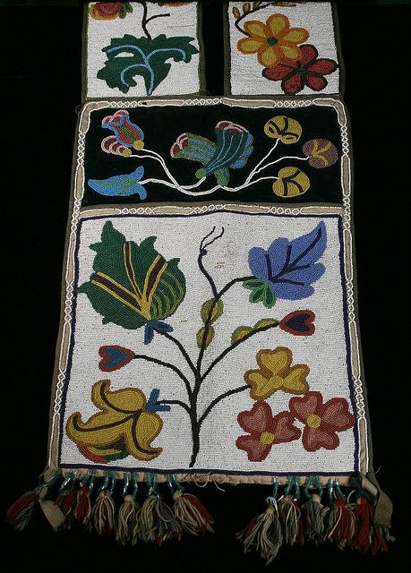 Spot-stitched beaded bandolier bag, possibly Ojibwe, Great Lakes region, late ni...
