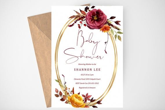 Fall Baby Shower Invitation, Baby Shower Invitation Girl, Floral and Gold Baby S...