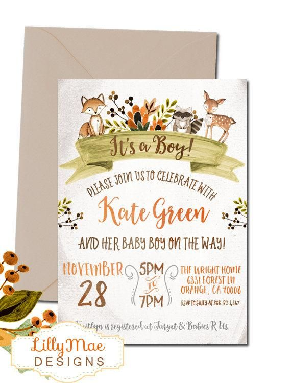 This Woodland Baby Shower Invitation Fall Baby Shower Invitation is just one of ...