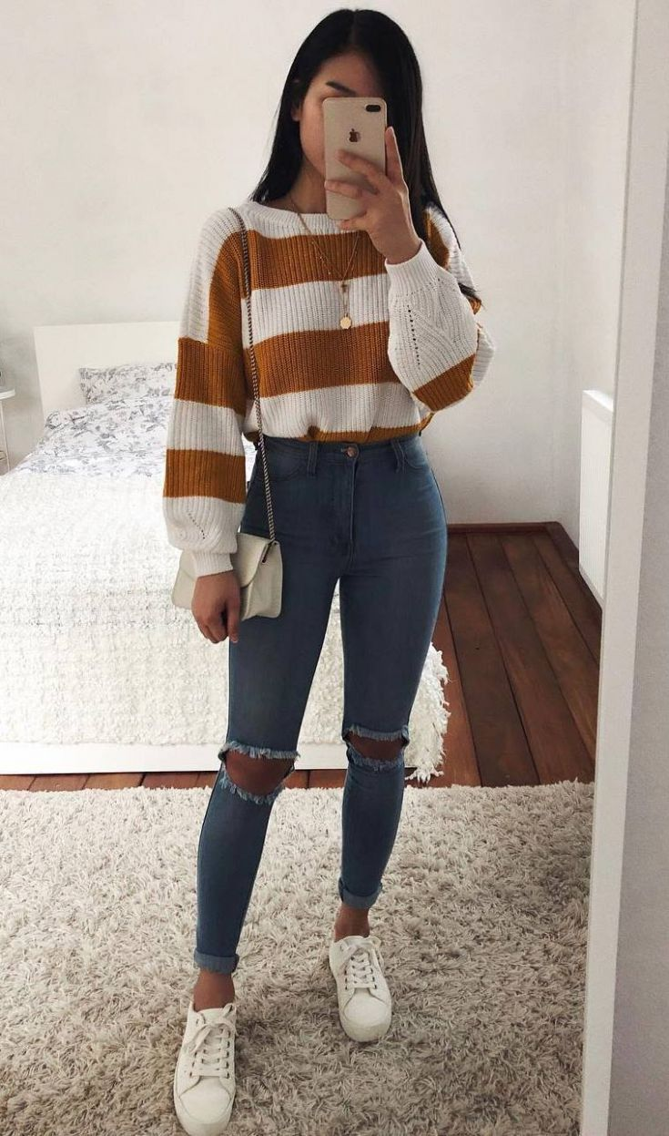 casual outfit idea / striped sweater + bag + skinny jeans + sneakers - -Outfit -...