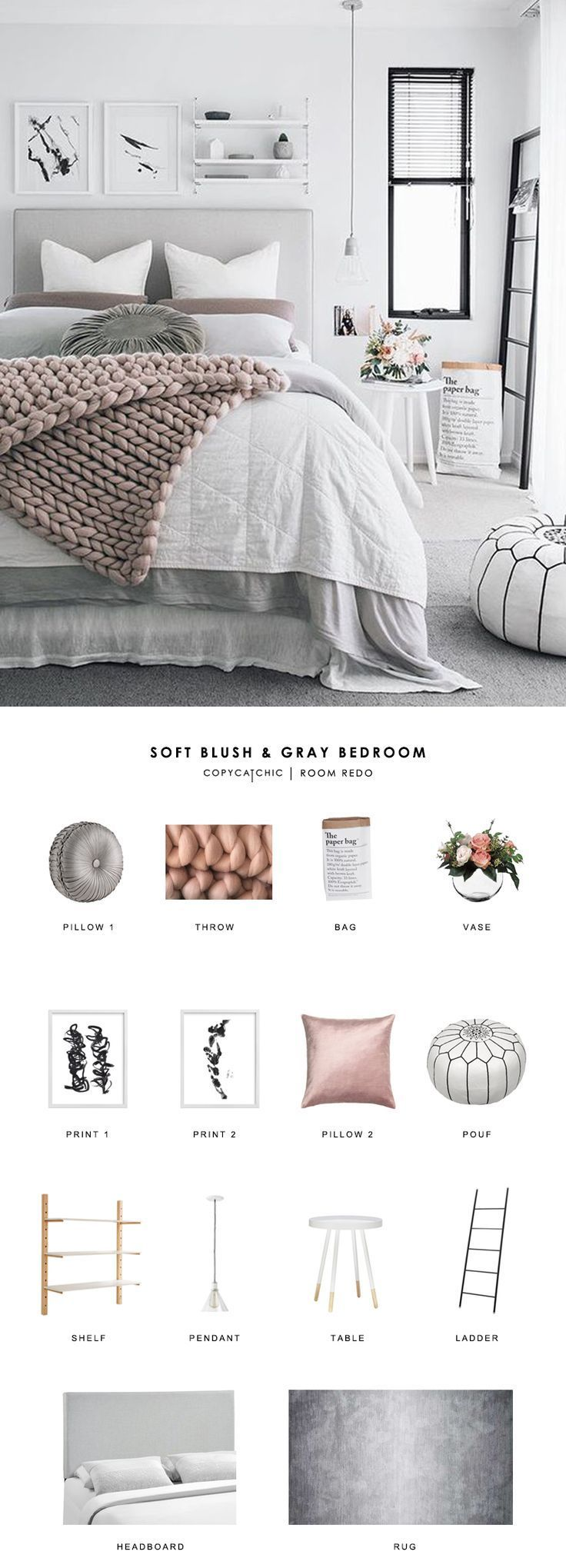 Copy Cat Chic Room Redo | Soft Blush and Gray Bedroom | Copy Cat Chic | Bloglovi...