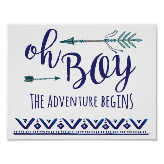Teal Oh Boy Tribal Baby Shower Sign | boho baby shower