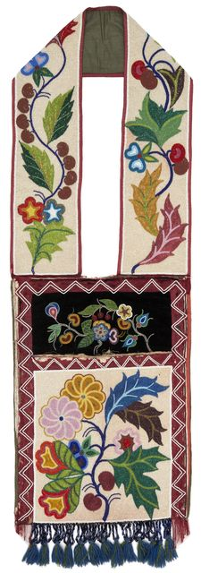 Ojibwe bandolier bag featuring straps and pocket decorated with spot-beaded flor...