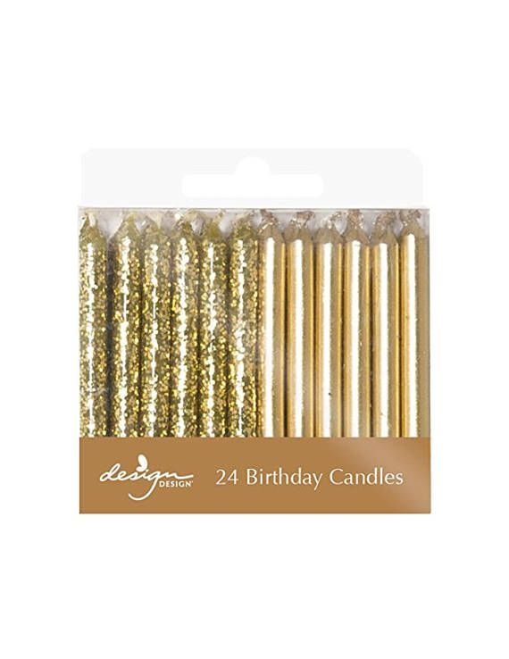Gold Birthday Candles - Party Candles - Gold Party Supplies - Glitter Candles - ...
