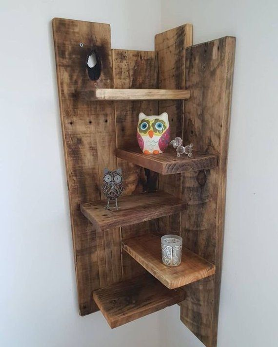 Corner Shelf Corner Shelving Wall Shelves Rustic Shelf Wooden Shelf Hanging Shelf #Wo ...