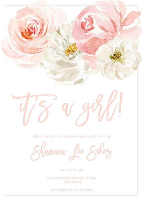 Girl Baby Shower Invitation Its a Girl Blush Pink Floral | Etsy