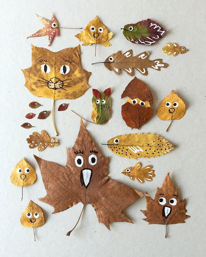Autumn leaves painted with children, autumn crafting with children, DIY