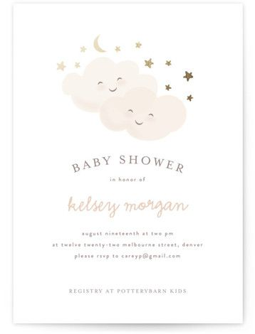Twinkling Foil-Pressed Baby Shower Invitations