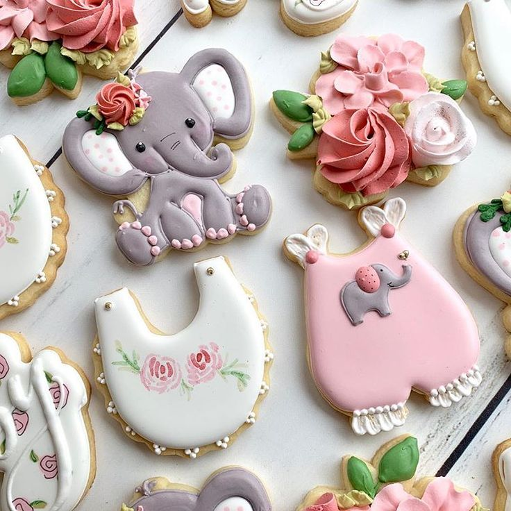 Baby Shower cookies for a little peanut that's on the way! 🐘 I am super pro...