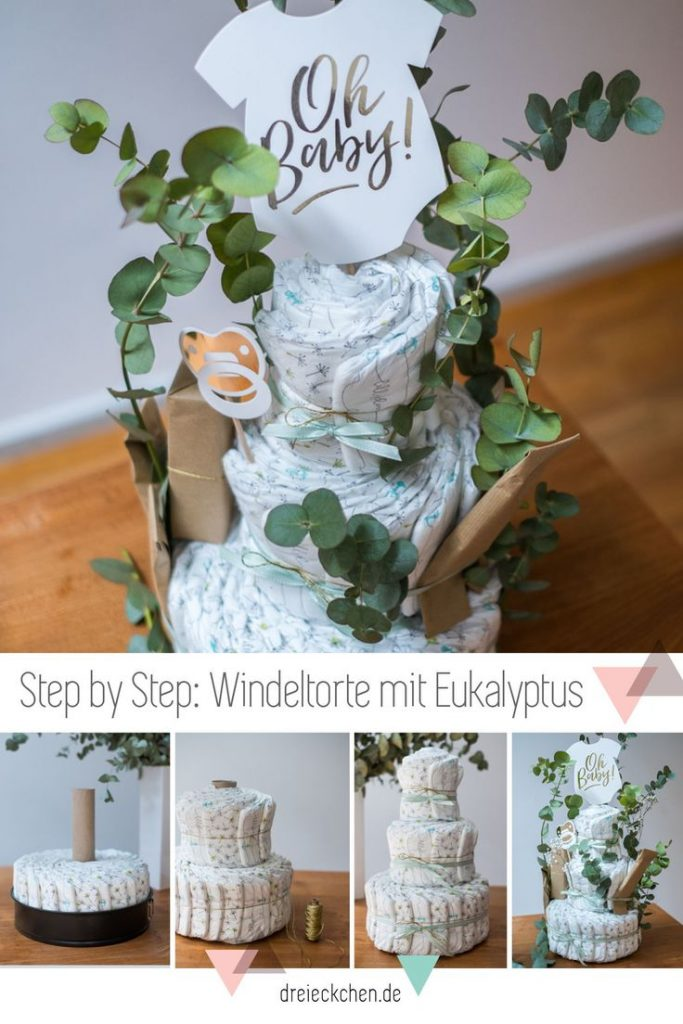 Beautiful diaper cake made with eucalyptus itself. The perfect idea for a B ...