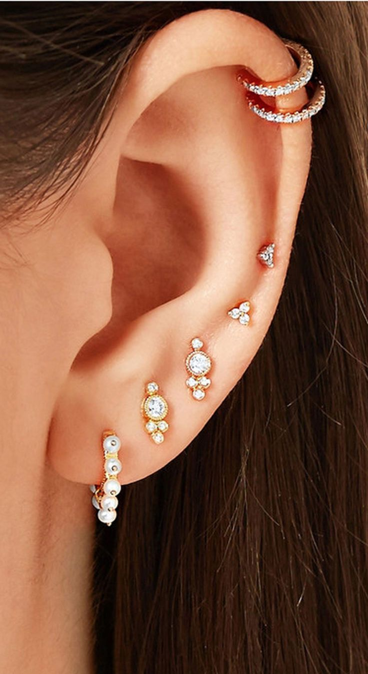 beautiful multiple ear piercing ideas for women #bodyjewelry #bodyjewelry #women