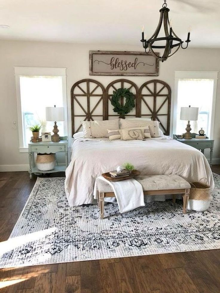 50 Awesome Farmhouse Bedroom Decor Ideas And Remodel (48)-The 3 panels behind be...