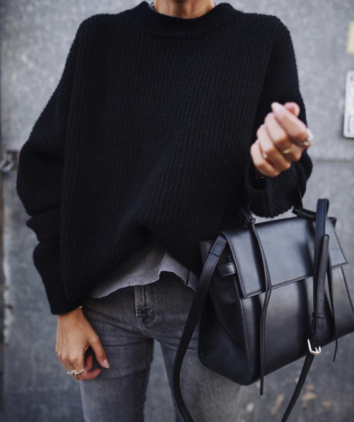Street Style : streetstyleplatform:Black Simple Sweater
