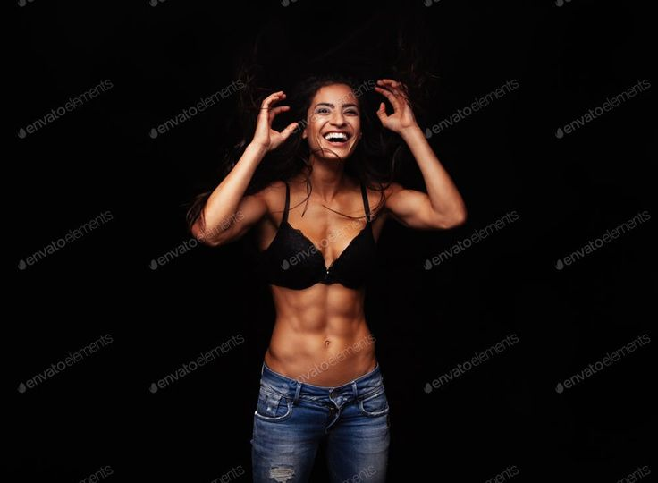 Cheerful young woman in bra and jeans By jacoblund鈥檚 photos #Ad , #AFFILIATE...