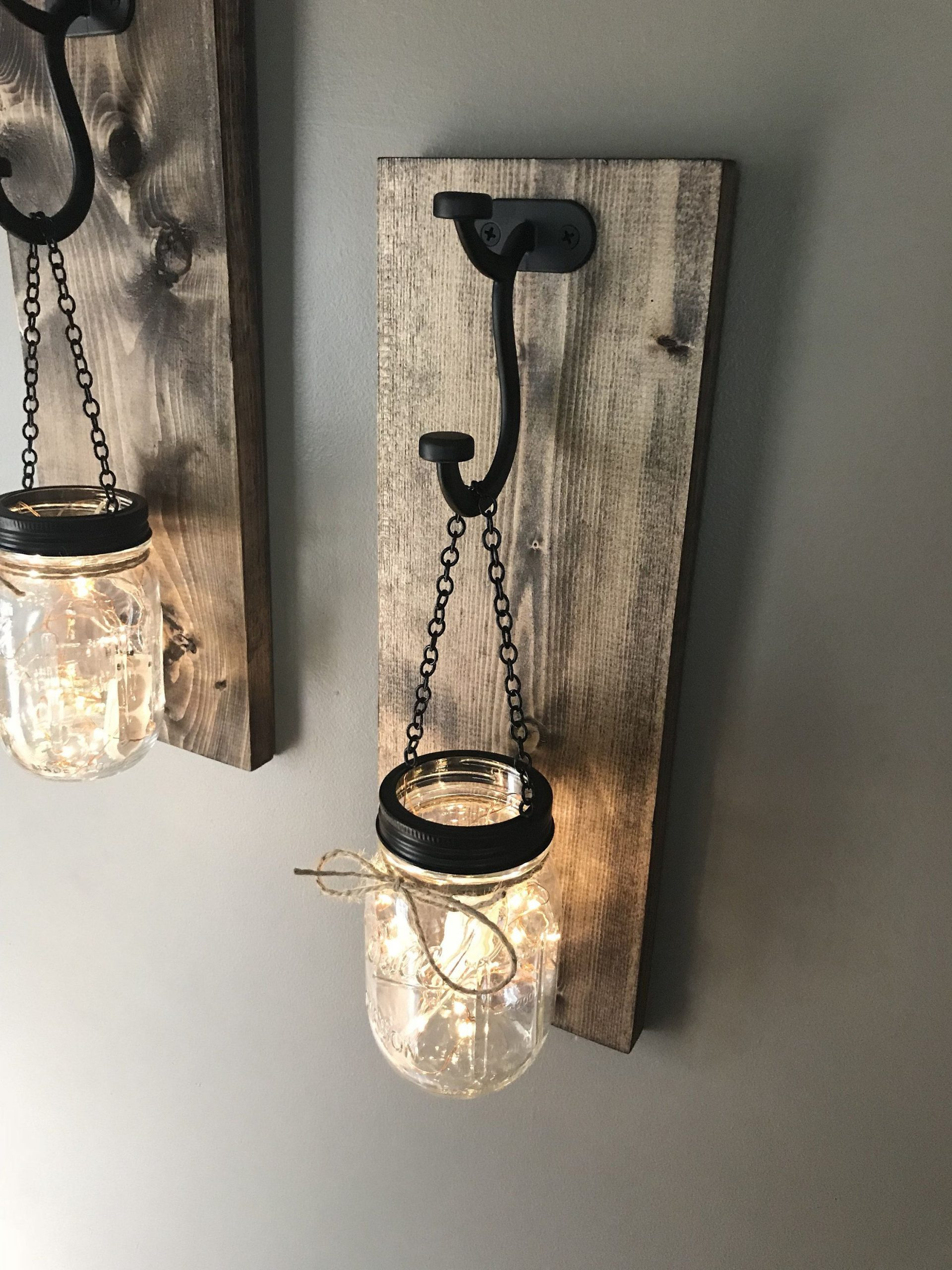 Hanging mason jar wall sconce | set of 2 mason jar sconce with lights | light up mason jar wall sconce | light up wall sconce set