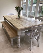 The Florence Clear' table Made From Reclaimed Wood (Distressed Wooden Top) - #Cl...
